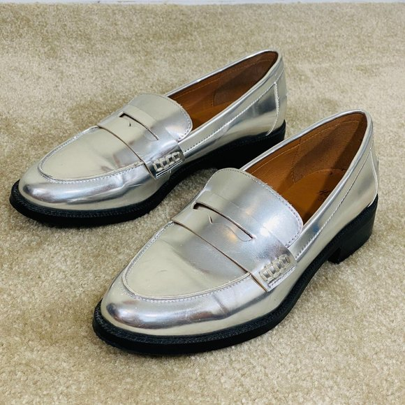 H&M Women's Metallic Silver Slip on Loafers 39/8